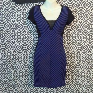 2B Bebe Blue & Black Stripe Bodycon Mini Dress XS